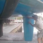Alex checking the rudder