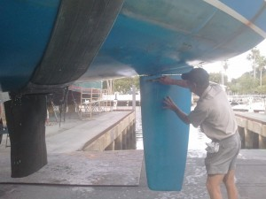 Alex checking the rudder