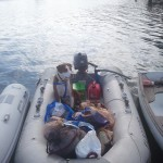 Our last provisional dinghy ride back to the boat!