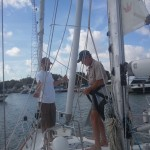Alex, our surveyor going up to check the rigging
