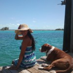 Sitting on the dock. Bimini