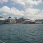 Huge cruise ships