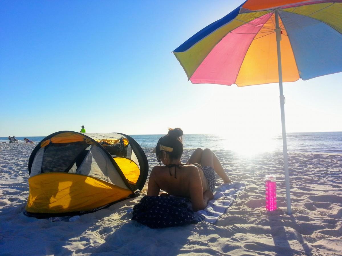 mother on beach